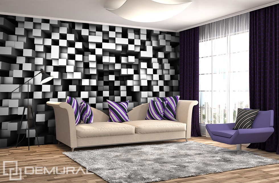 Cubes in black and white - 3D Photo wallpaper