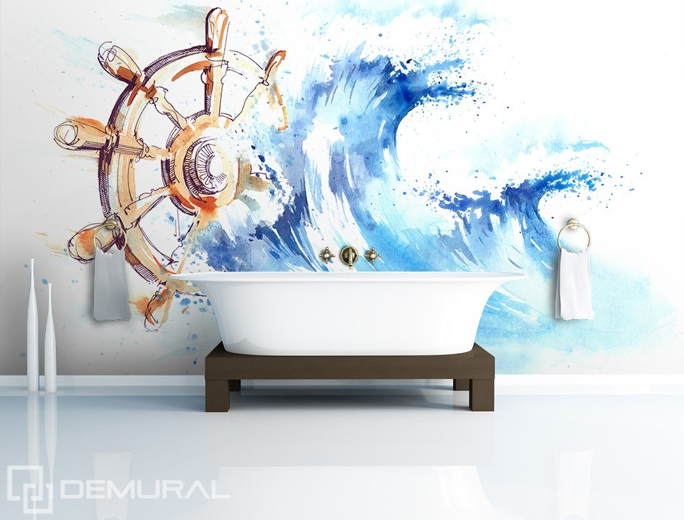 Take the helm! - Bathroom photo wallpaper