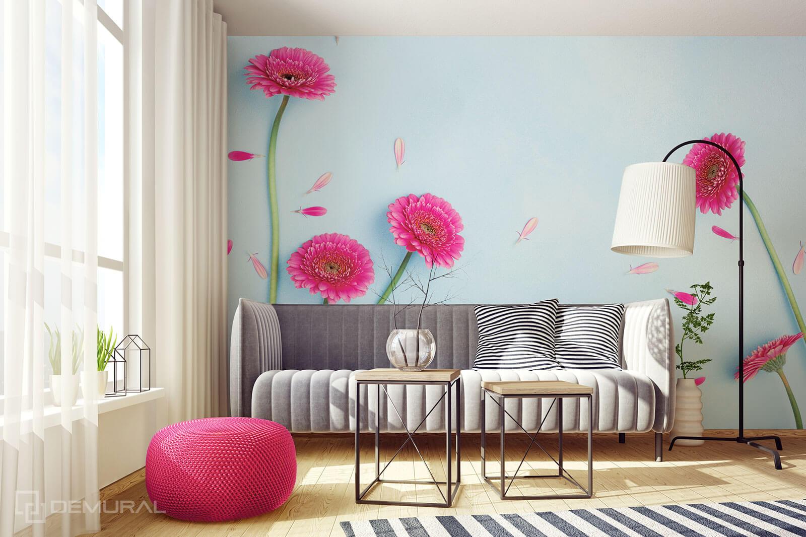 Photo wallpaper Pink Dasies - Flowe photo wallpaper - Demural