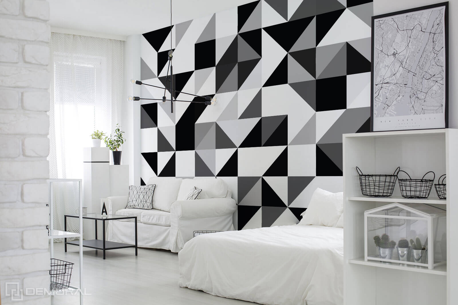 Photo wallpaper Black & White shapes - Geometric photo wallpaper - Demural