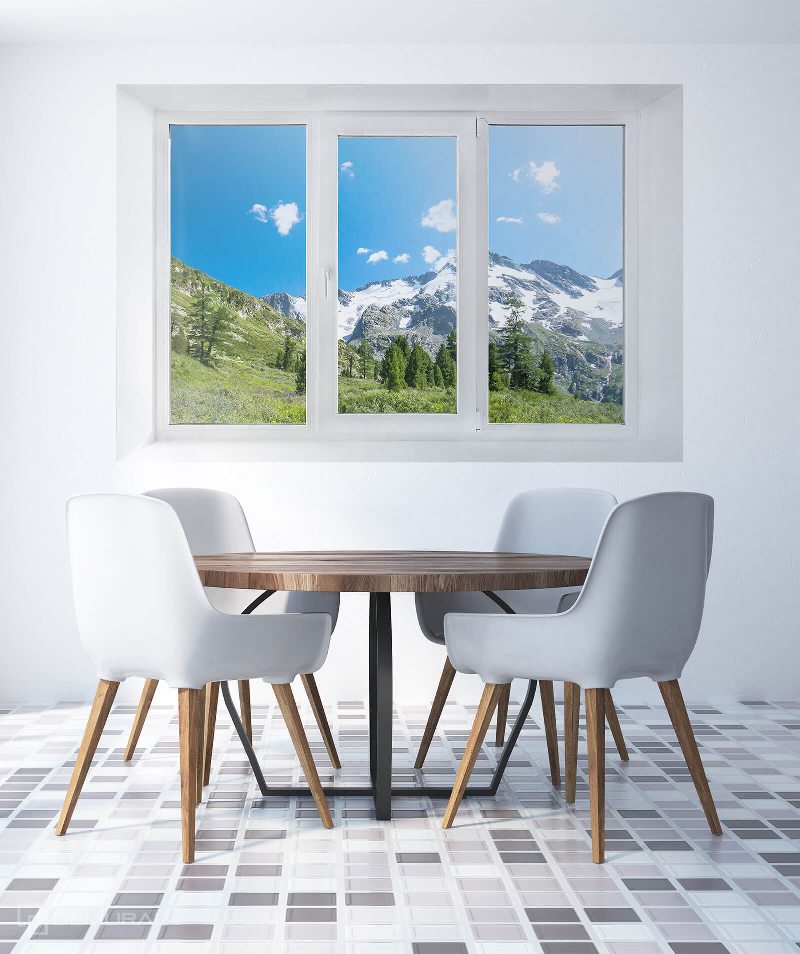 Photo wallpaper House in mountains - Photo wallpaper window - Demural