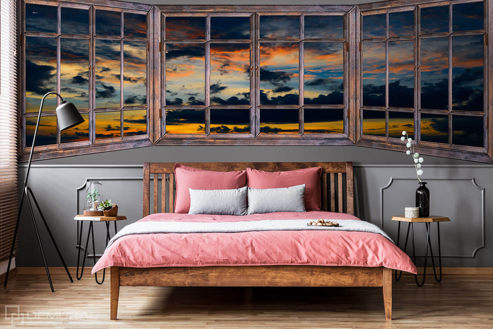 Photo wallpaper Sunset through the window - Photo wallpaper window - Demural