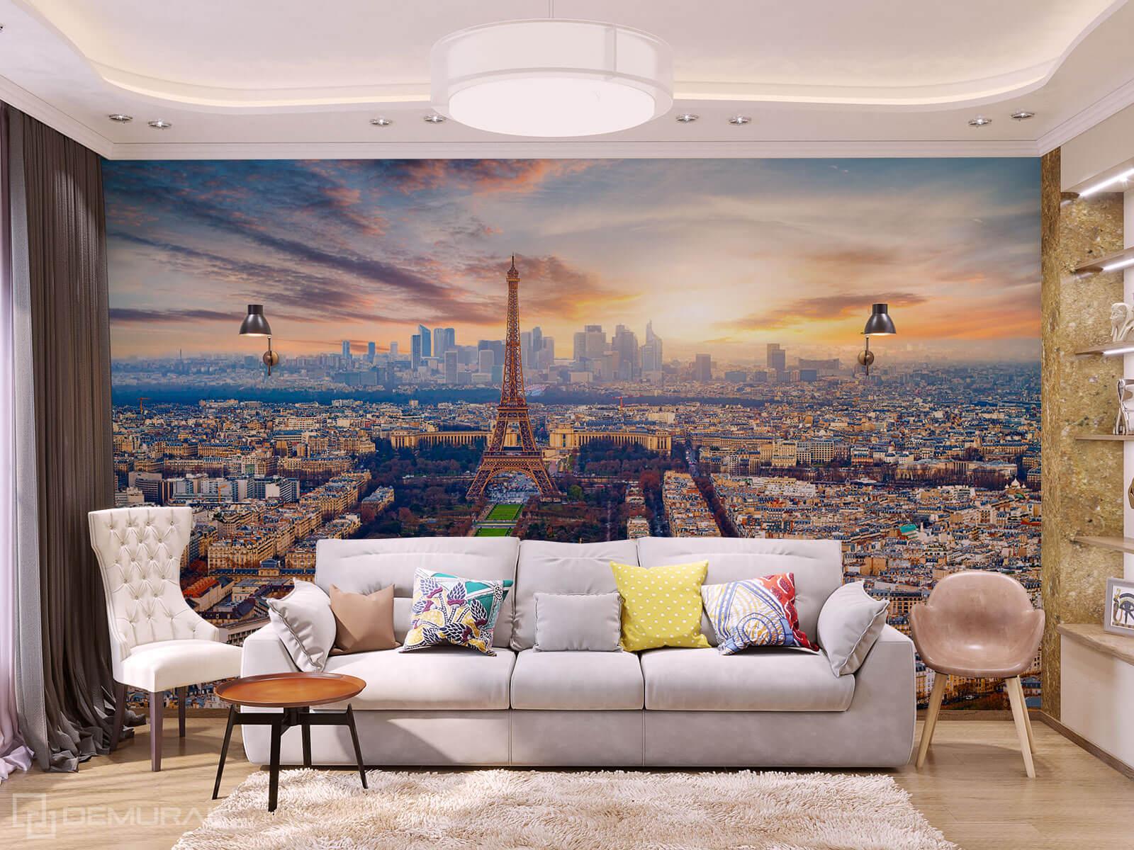 Photo wallpaper Paris Evening - photo wallpaper Eiffel tower - Demural