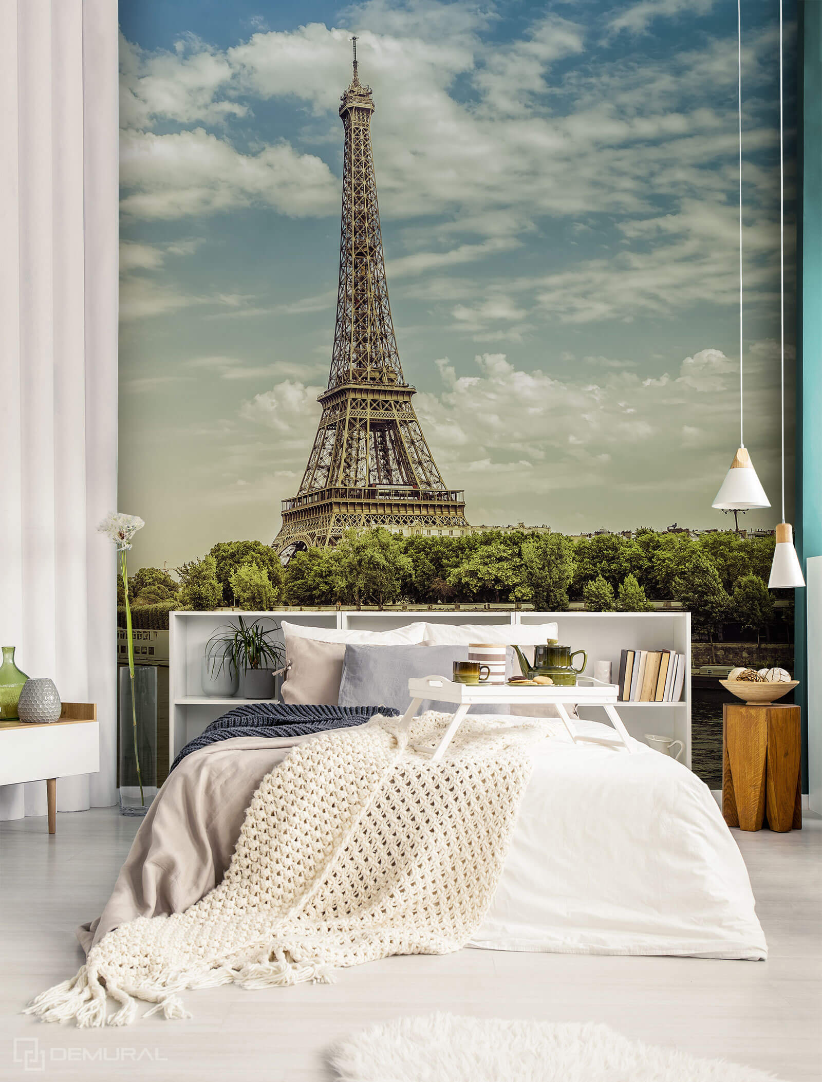 Photo wallpaper Dream over the Seine - photo wallpaper Eiffel tower - Demural