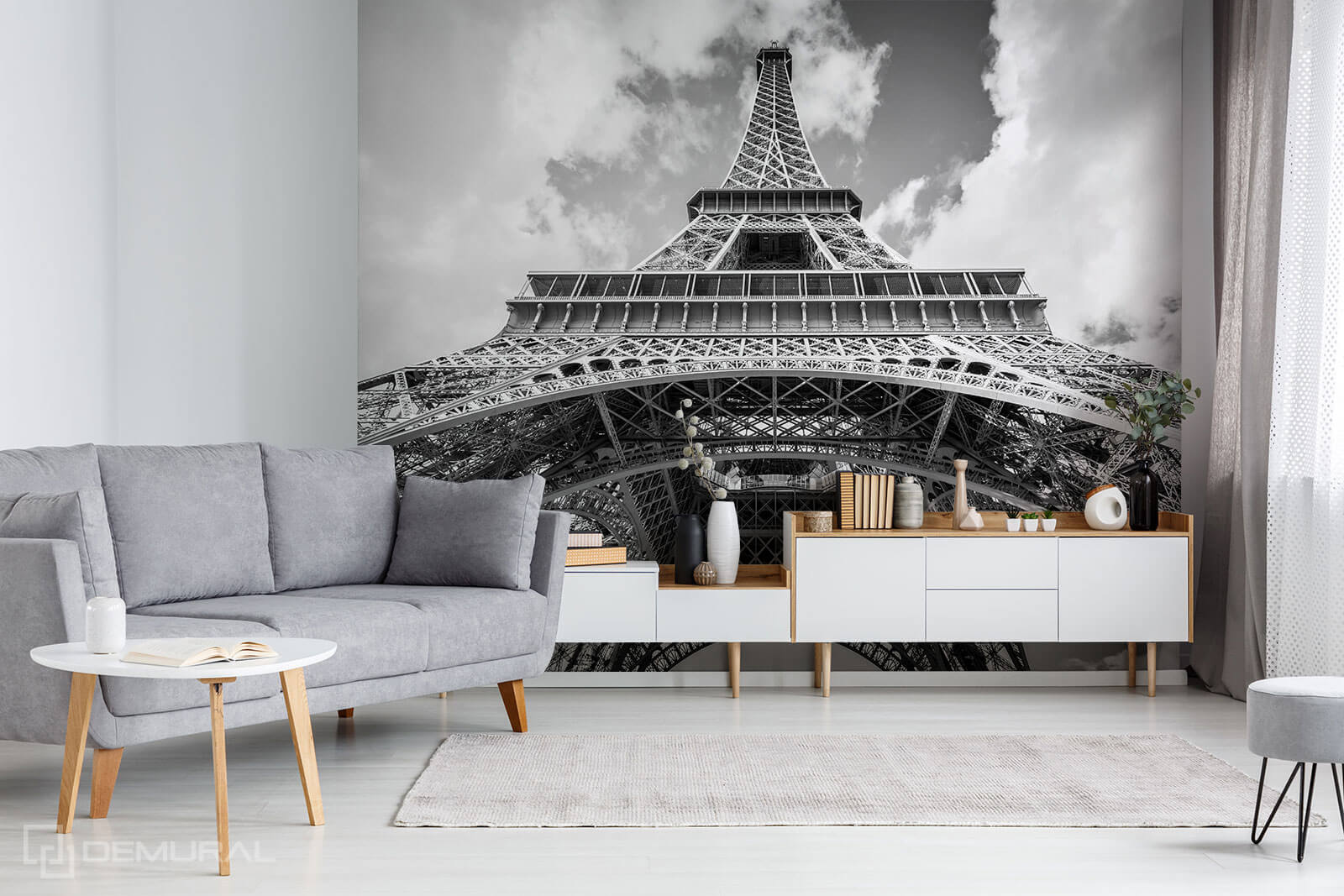 Photo wallpaper Black and White Eiffel Tower - photo wallpaper Eiffel tower - Demural