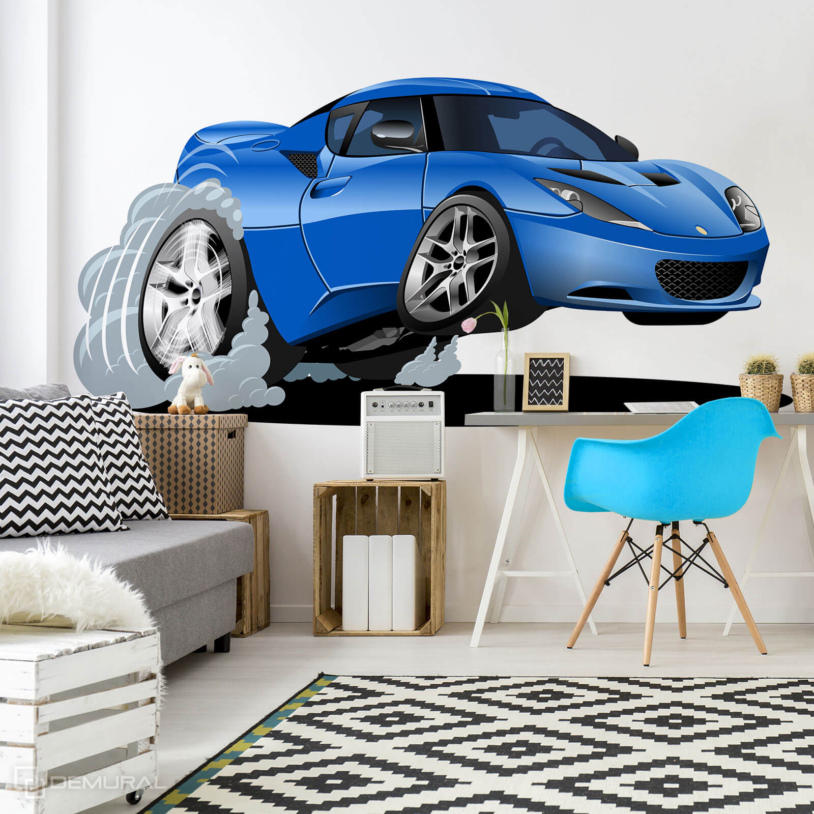 Photo wallpaper  Speeding toy car - Photo wallpaper car - Demural