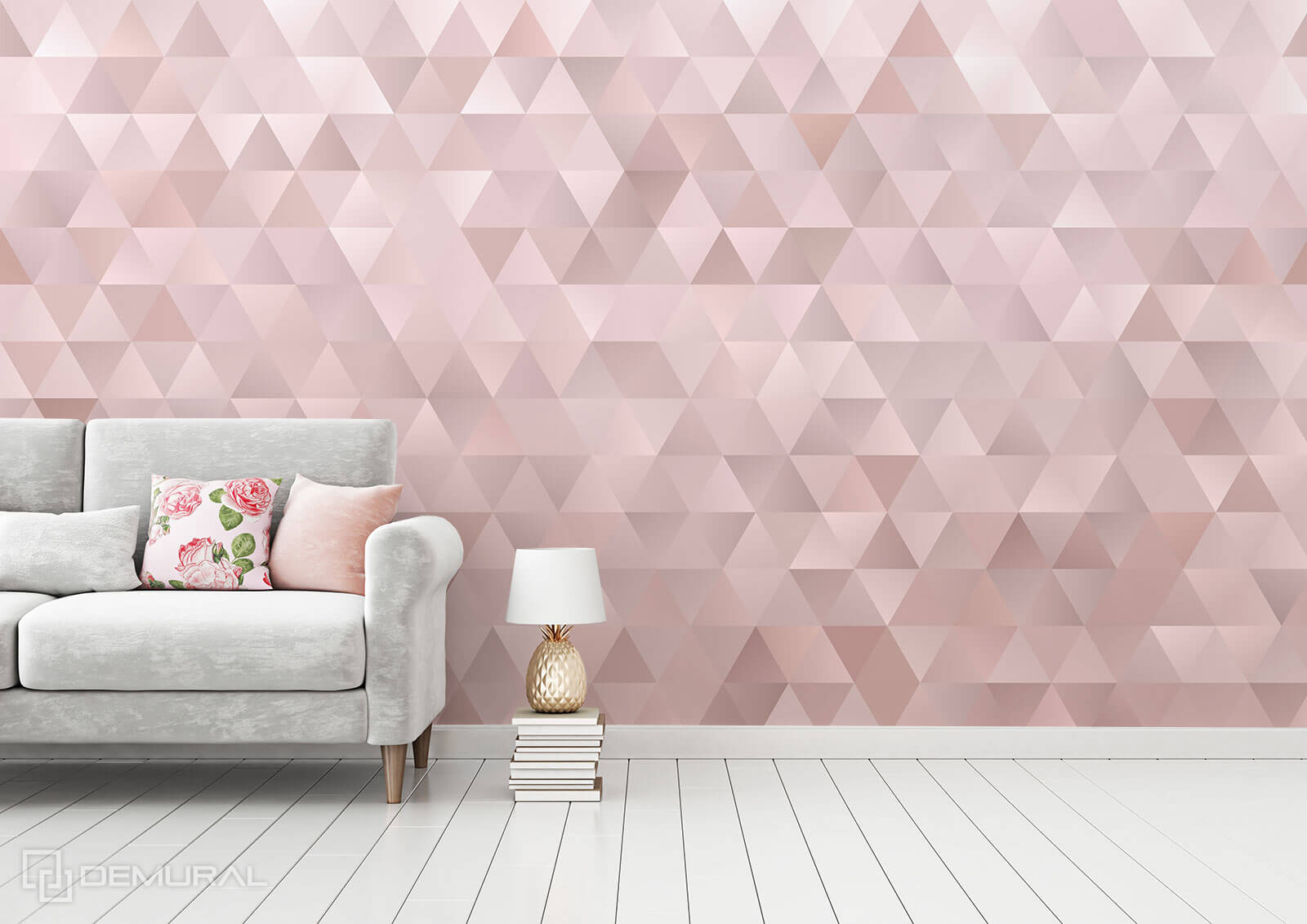 Photo wallpaper Pink triangles - Pink photo wallpaper - Demural