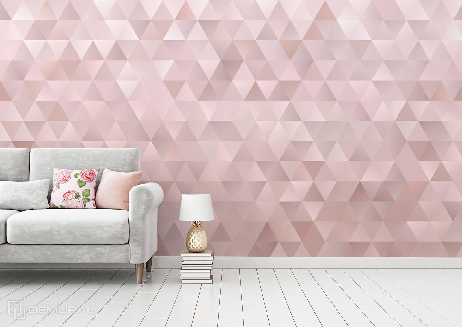 Photo wallpaper Pink triangles - Pink photo wallpaper - Demural