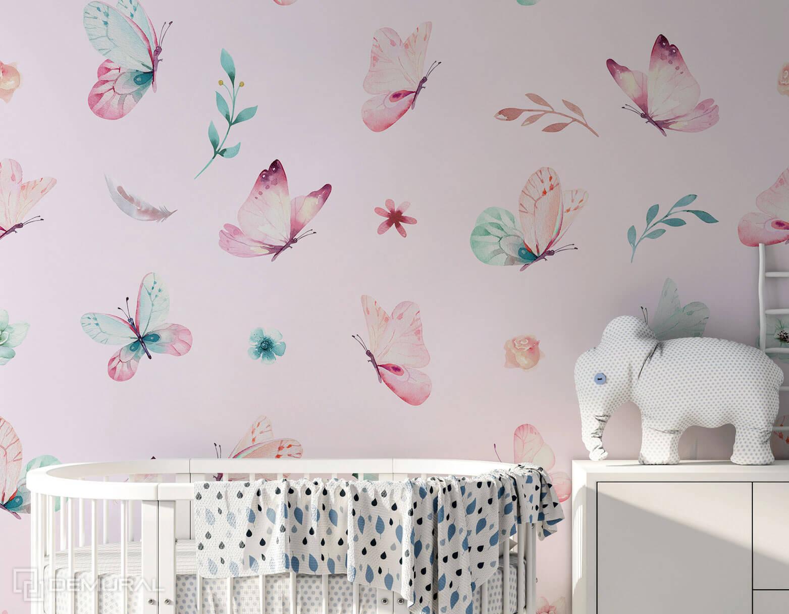 Photo wallpaper Dance of butterflies - Pink photo wallpaper - Demural