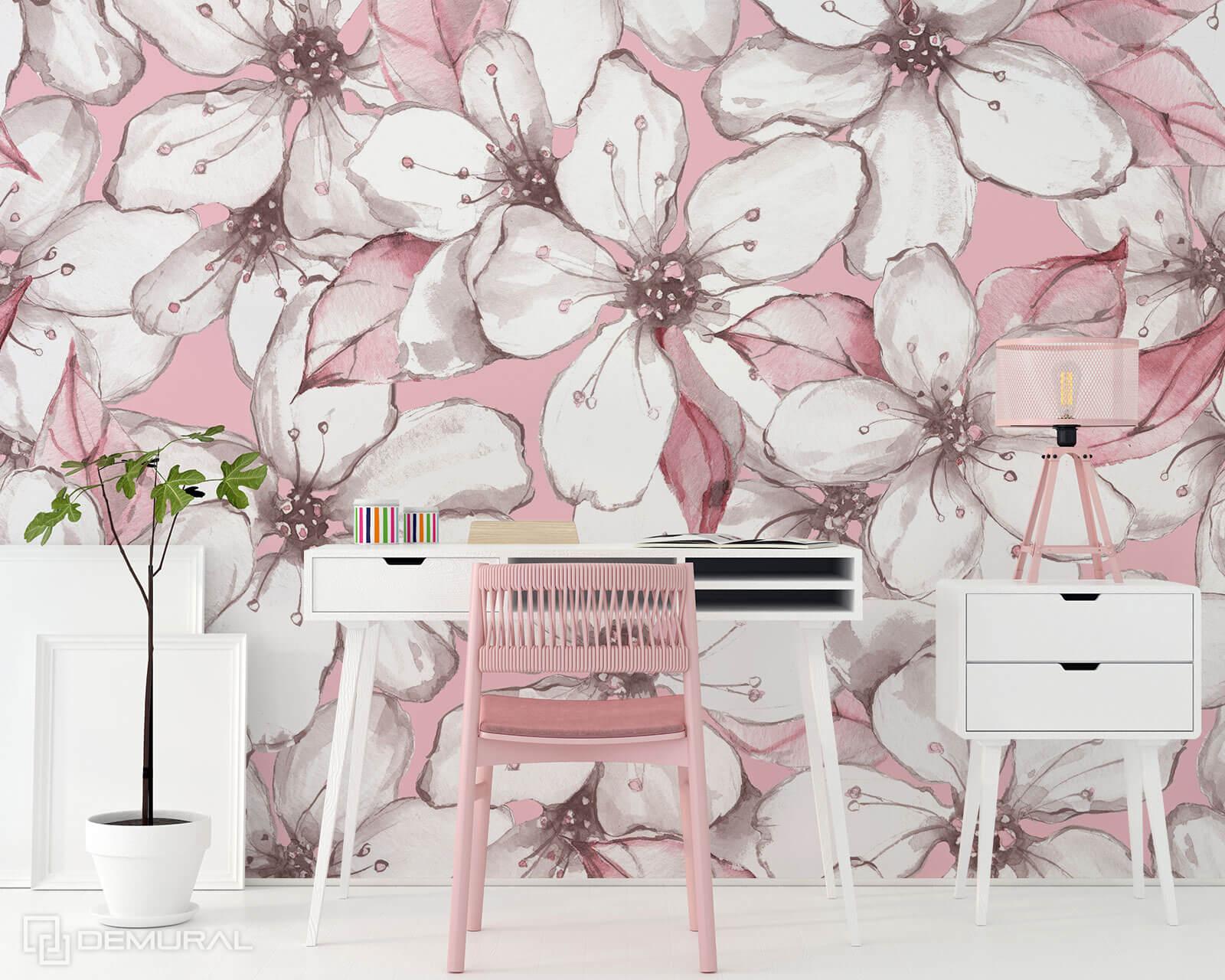 Photo wallpaper Apple blossoms - Pink photo wallpaper - Demural