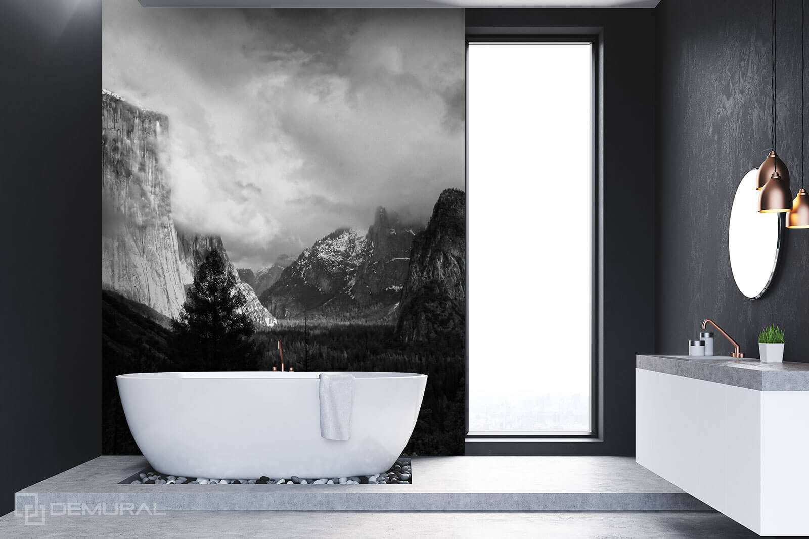 Photo wallpaper Mountain Panorama - Black white photo wallpaper - Demural