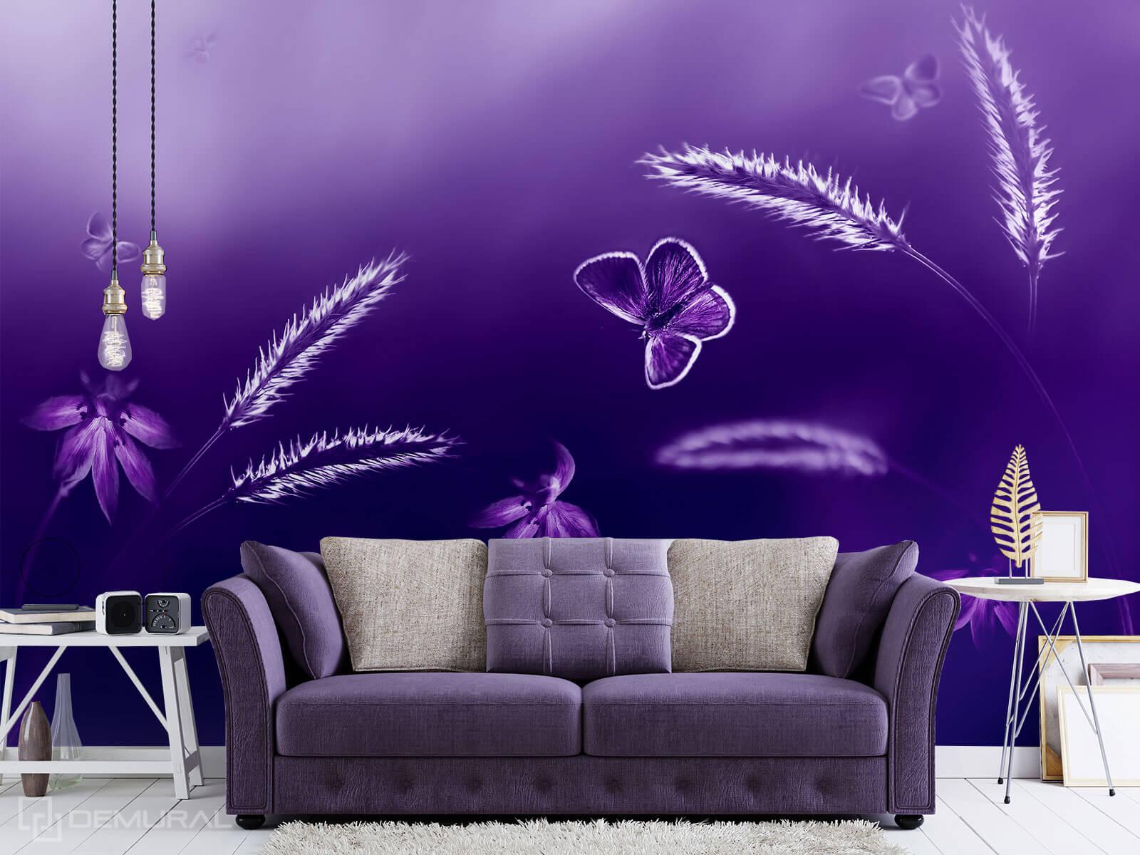 Photo wallpaper Violet meadow - Ultraviolet wallpaper - Demural