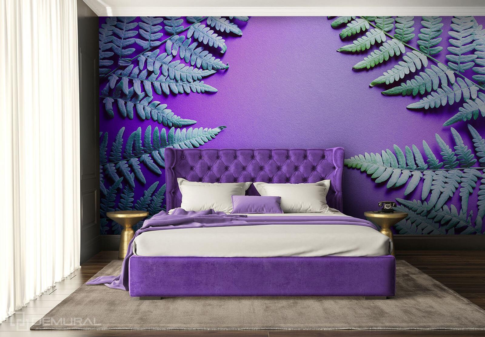 Photo wallpaper Fern flower - Ultraviolet wallpaper - Demural