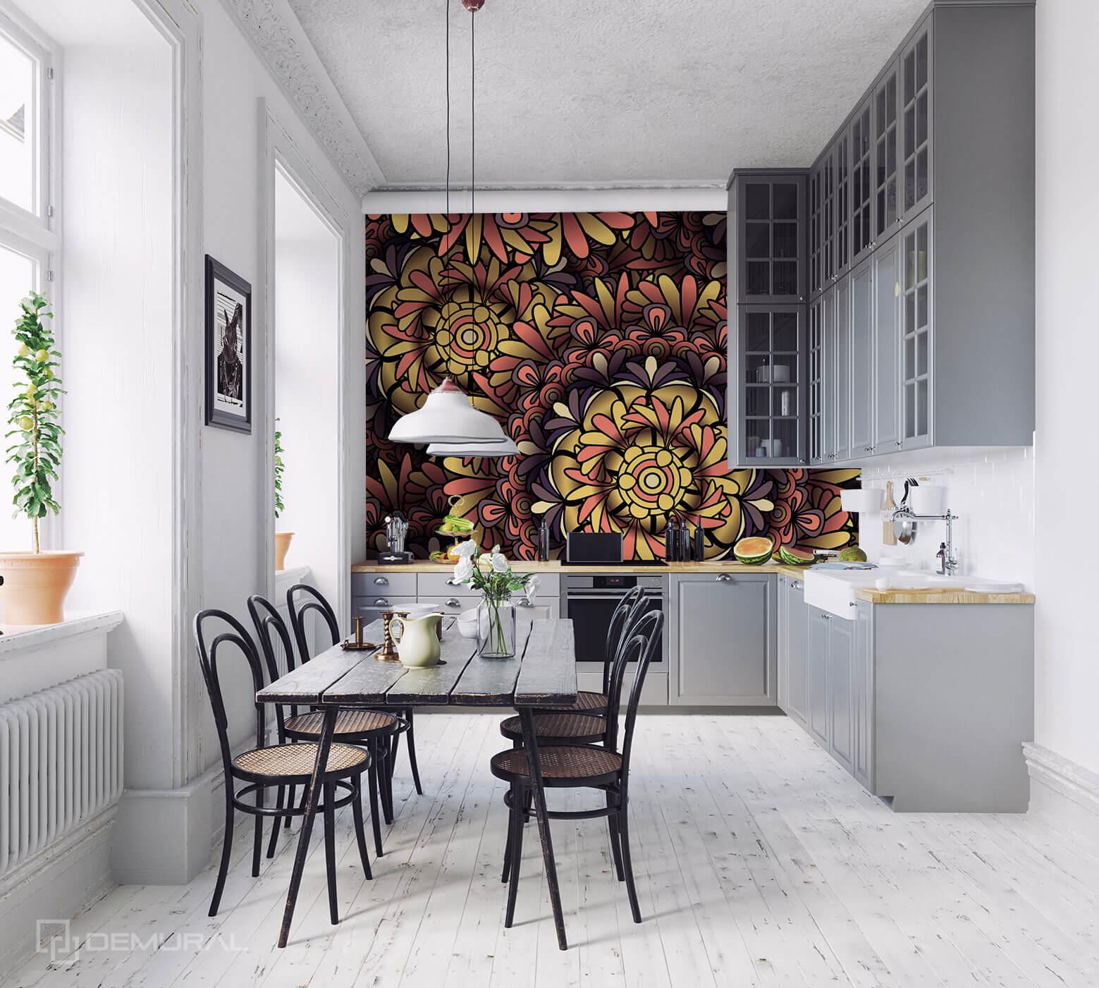Photo wallpaper Stylish mandala - Photo wallpaper in big kitchen - Demural