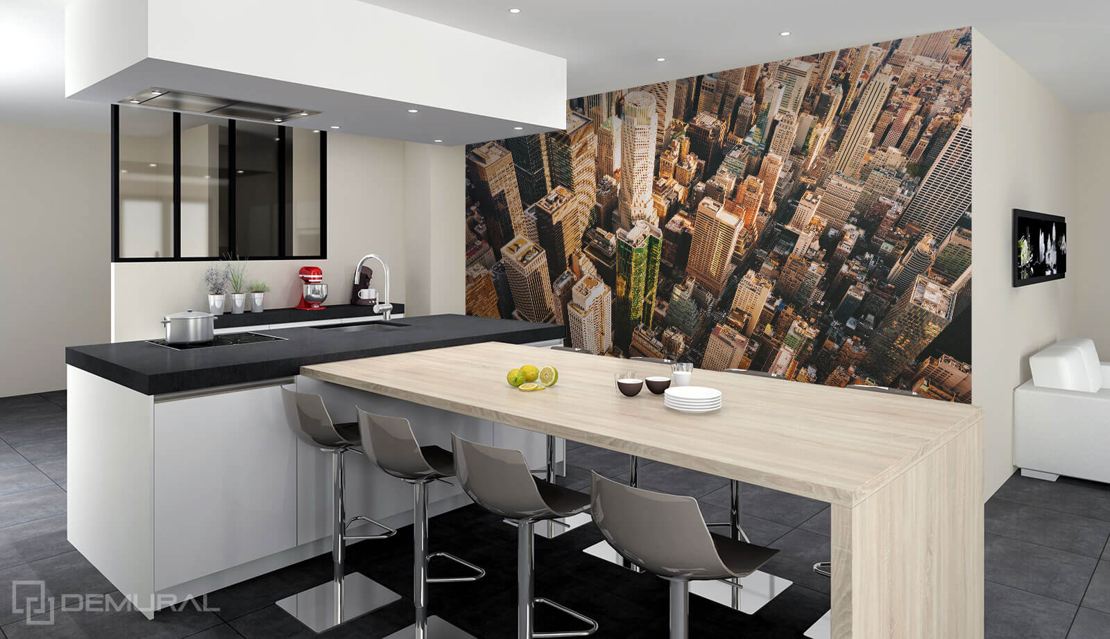 Photo wallpaper Scycrapers roofs - Photo wallpaper in big kitchen - Demural