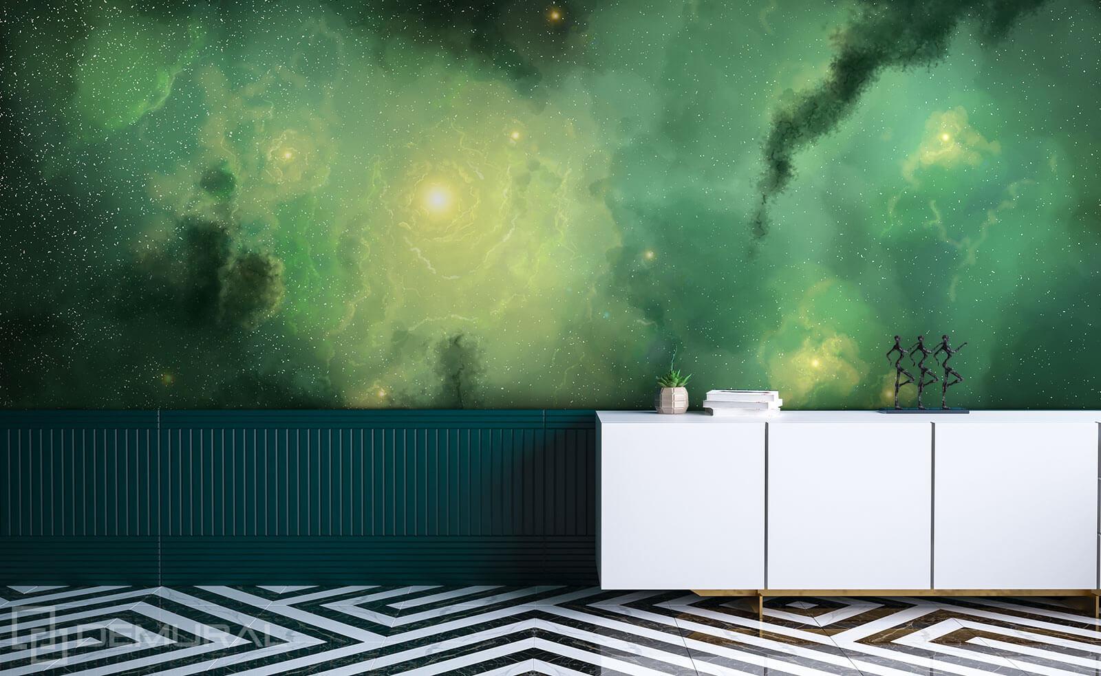 Photo wallpaper Green Galaxy - Photo wallpaper 3D - Demural