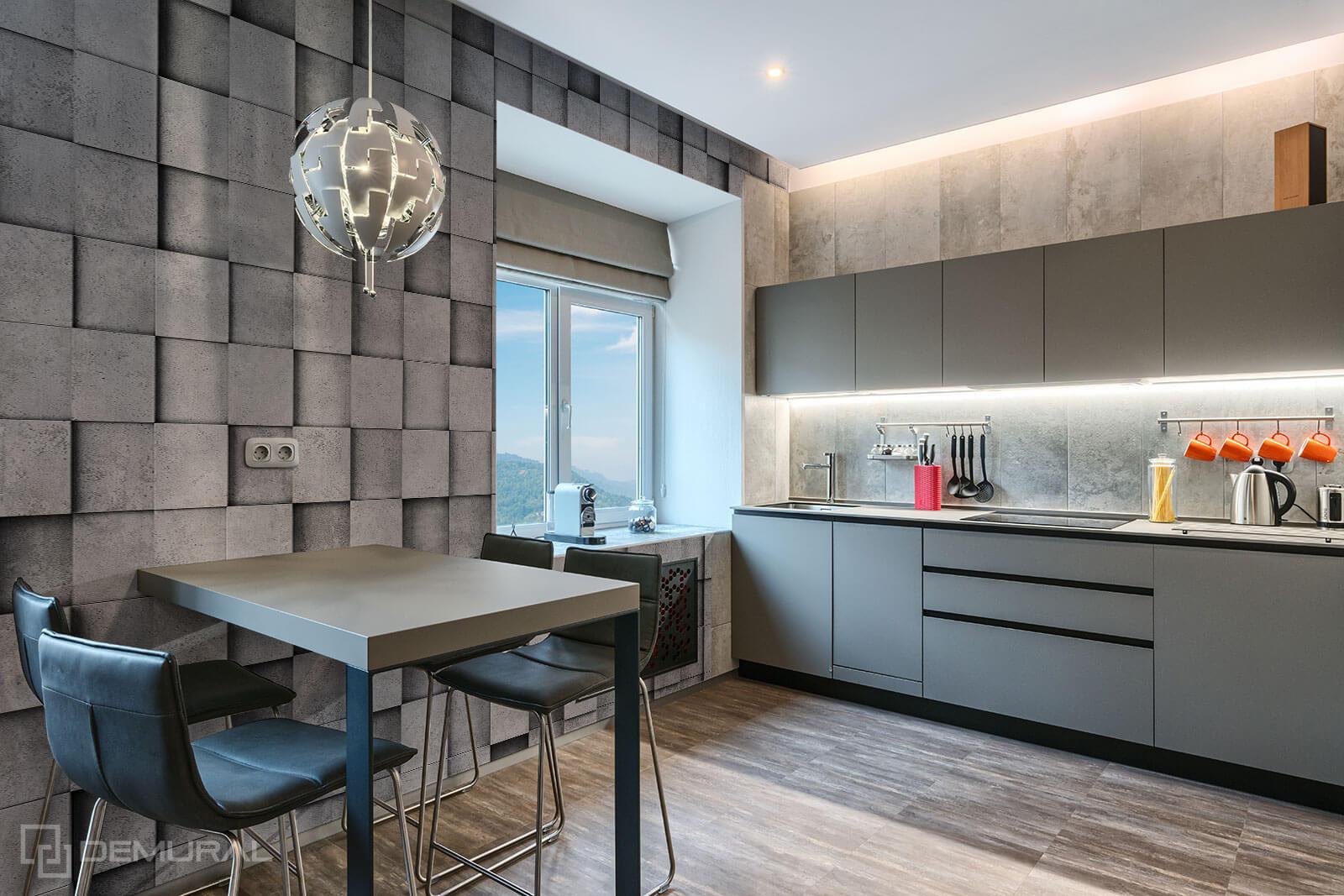 Photo wallpaper Concrete cubes - Photo wallpaper in big kitchen - Demural