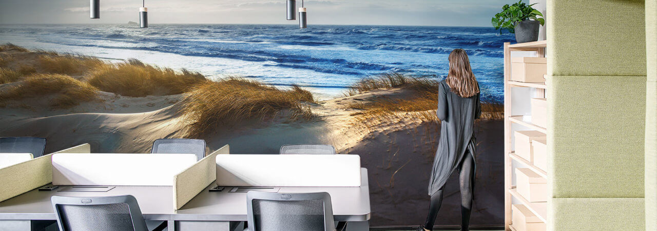 Sea photo wallpaper in office - Demural
