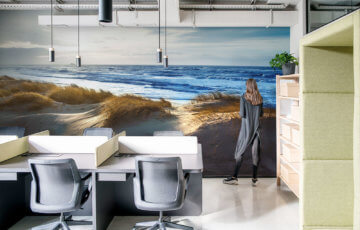 Sea photo wallpaper in office - Demural