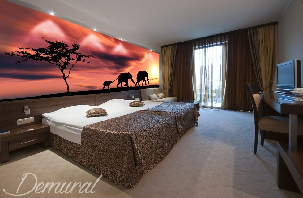 Say goodbye to Africa- Goodnight savanna Animals wallpaper mural Photo wallpapers Demural