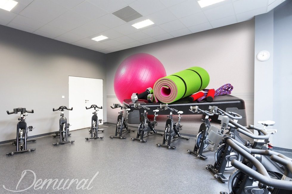 "Photo decoration and ""Fit"" motivation Fitness club wallpaper mural Photo wallpapers Demural"