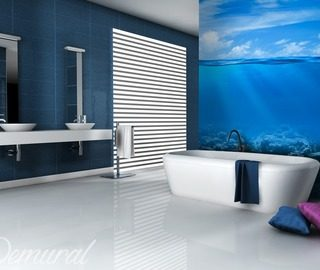 great sky blue bathroom wallpaper mural photo wallpapers demural