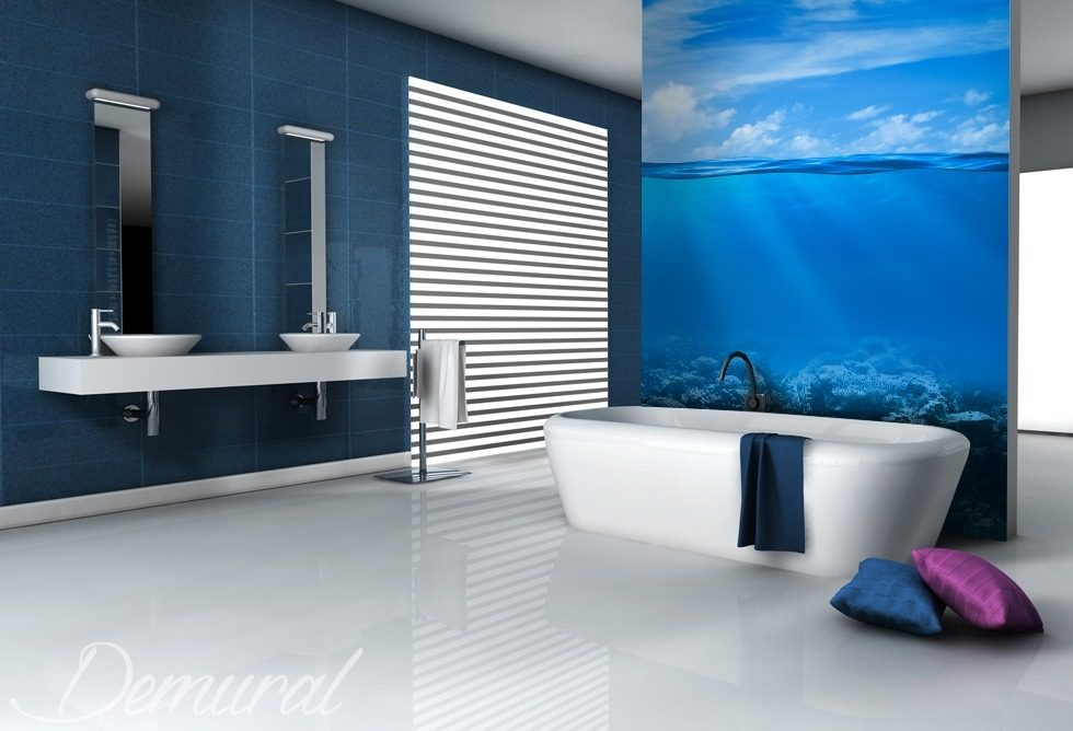 Great sky blue bathroom wallpaper mural photo for Bathroom mural wallpaper