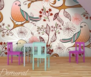 bird radio childs room wallpaper mural photo wallpapers demural
