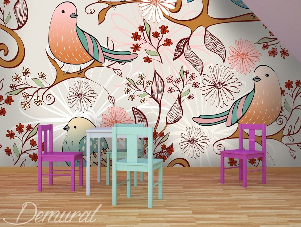 Bird radio child 39 s room wallpaper mural photo for Bird mural wallpaper