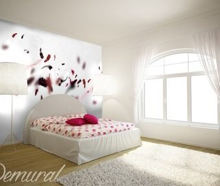 a pink feather quilt bedroom wallpaper mural photo wallpapers demural