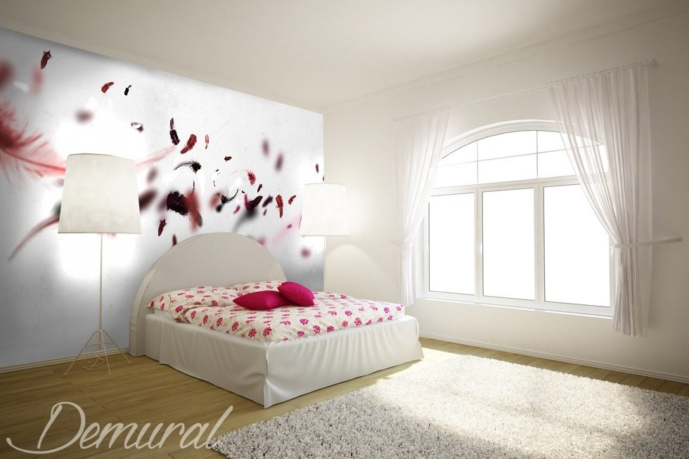 A Pink Feather Quilt Bedroom Wallpaper Mural Photo
