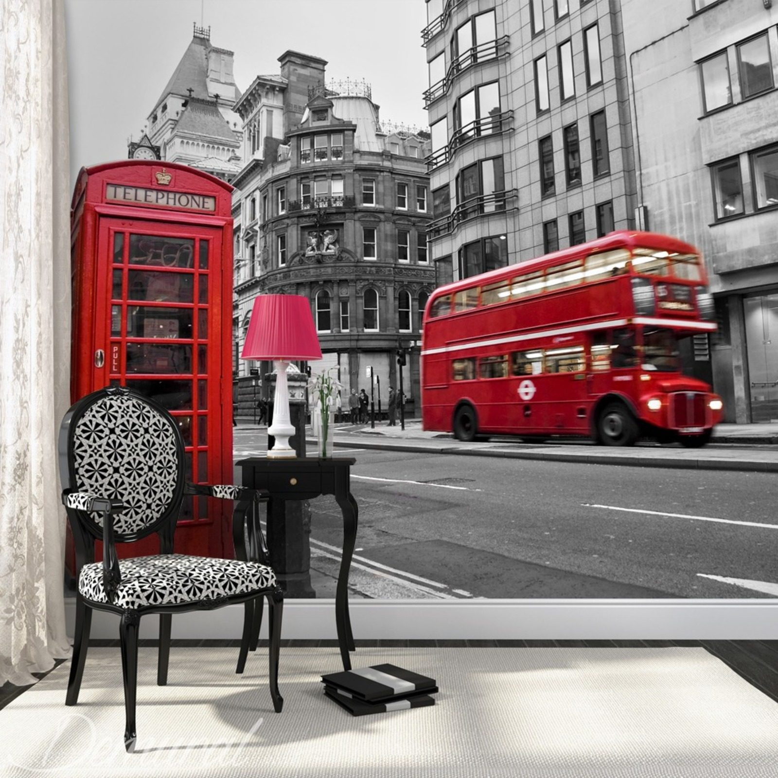 Hello it s london wall murals and photo wallpapers for Black and white london mural wallpaper