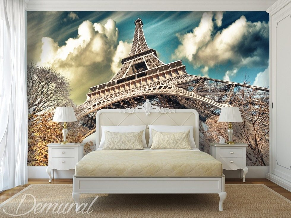 Under the roofs of paris eiffel tower wallpaper mural for Wall art wallpaper