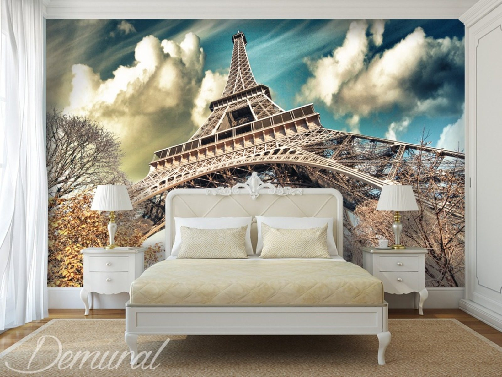 Under the roofs of paris eiffel tower wallpaper mural for Eiffel tower mural