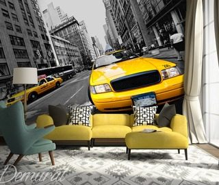 in a yellow taxi cab through new york cities wallpaper mural photo wallpapers demural