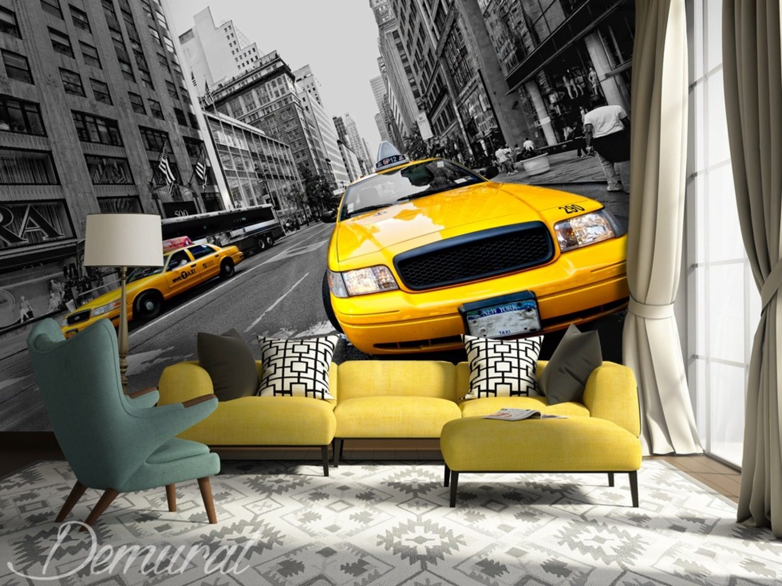 in a yellow taxi cab through new york wall murals and. Black Bedroom Furniture Sets. Home Design Ideas