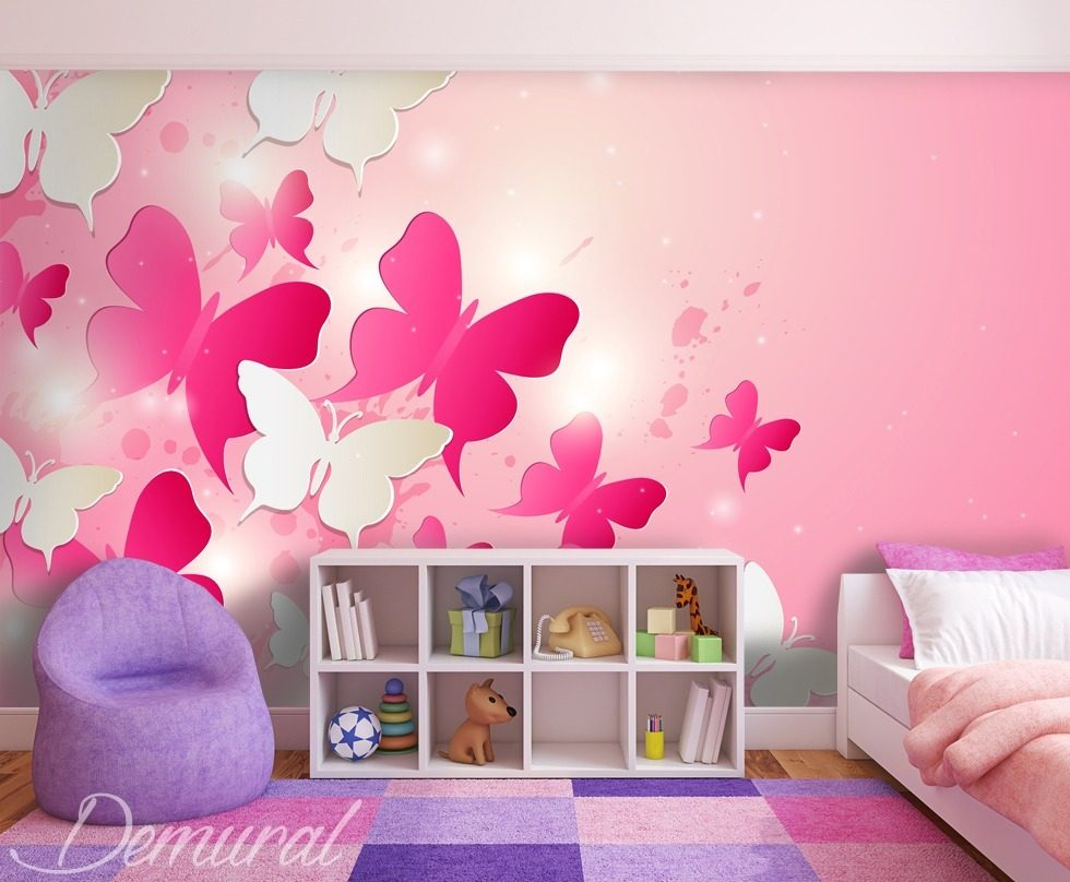 in a pink kingdom child 39 s room wallpaper mural photo wallpapers demural. Black Bedroom Furniture Sets. Home Design Ideas
