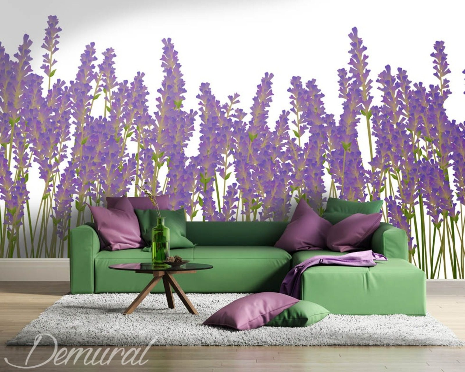 Born to the purple flowers wallpaper mural photo for Purple wallpaper for walls