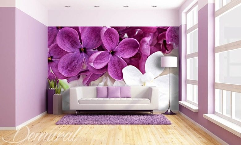 violets in a living room living room wallpaper mural photo wallpapers demural
