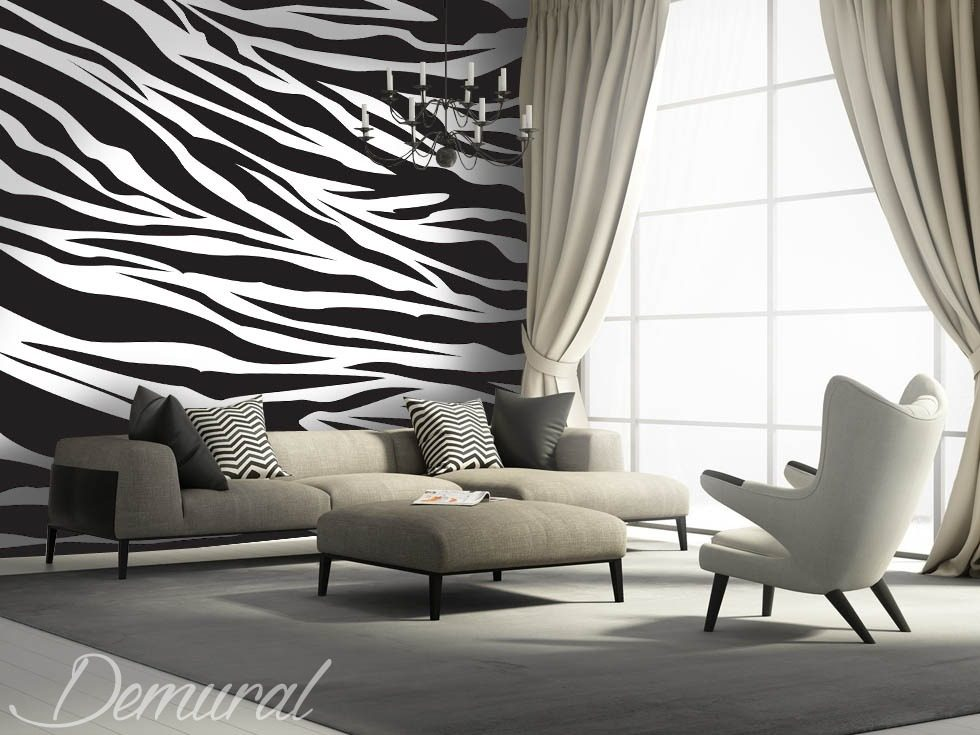 A hoof-beat of zebras Black and white wallpaper, mural Photo wallpapers Demural