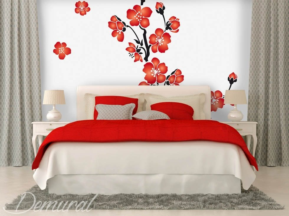 A floral coquetry Bedroom wallpaper mural Photo wallpapers Demural