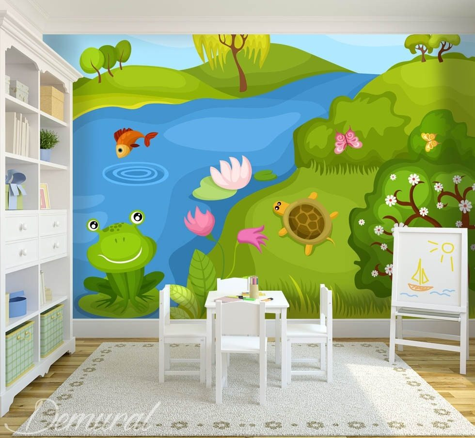 Kiss a frog Child's room wallpaper mural Photo wallpapers Demural