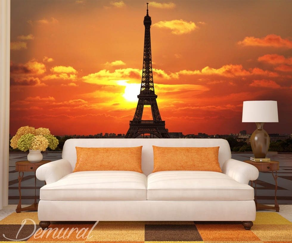Bonjour bonne nuit eiffel tower wallpaper mural photo for Eiffel tower wall mural black and white