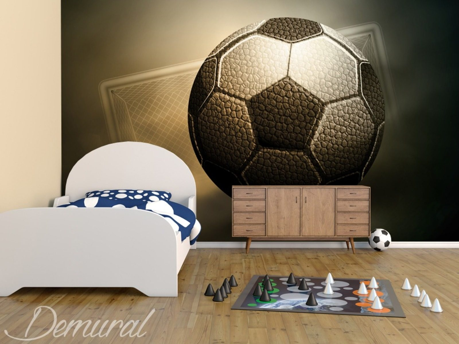 A football trophy boy s room wallpaper mural photo for Boys bedroom mural
