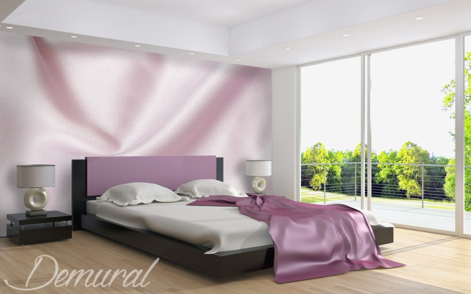 elegant sateen wall murals and photo wallpapers in bedroom photo