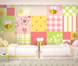 big small patchwork childs room wallpaper mural photo wallpapers demural