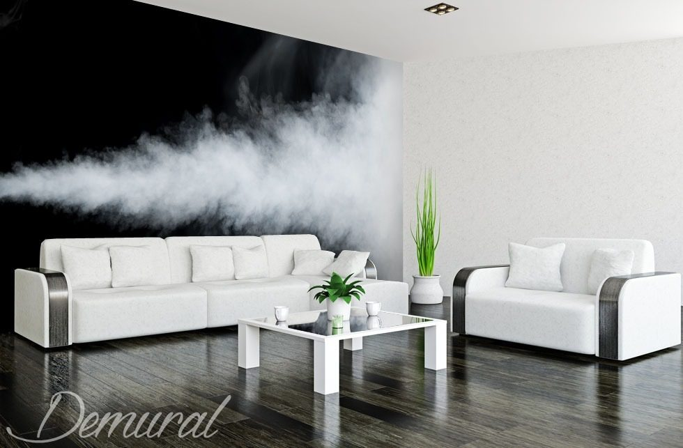 An elegant smoky room Black and white wallpaper, mural Photo wallpapers Demural