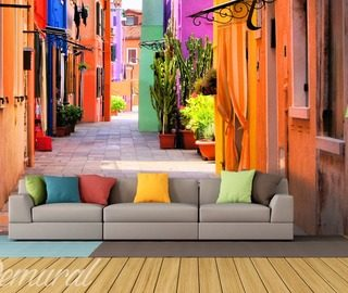 a siesta in multicolour streets wallpaper mural photo wallpapers demural
