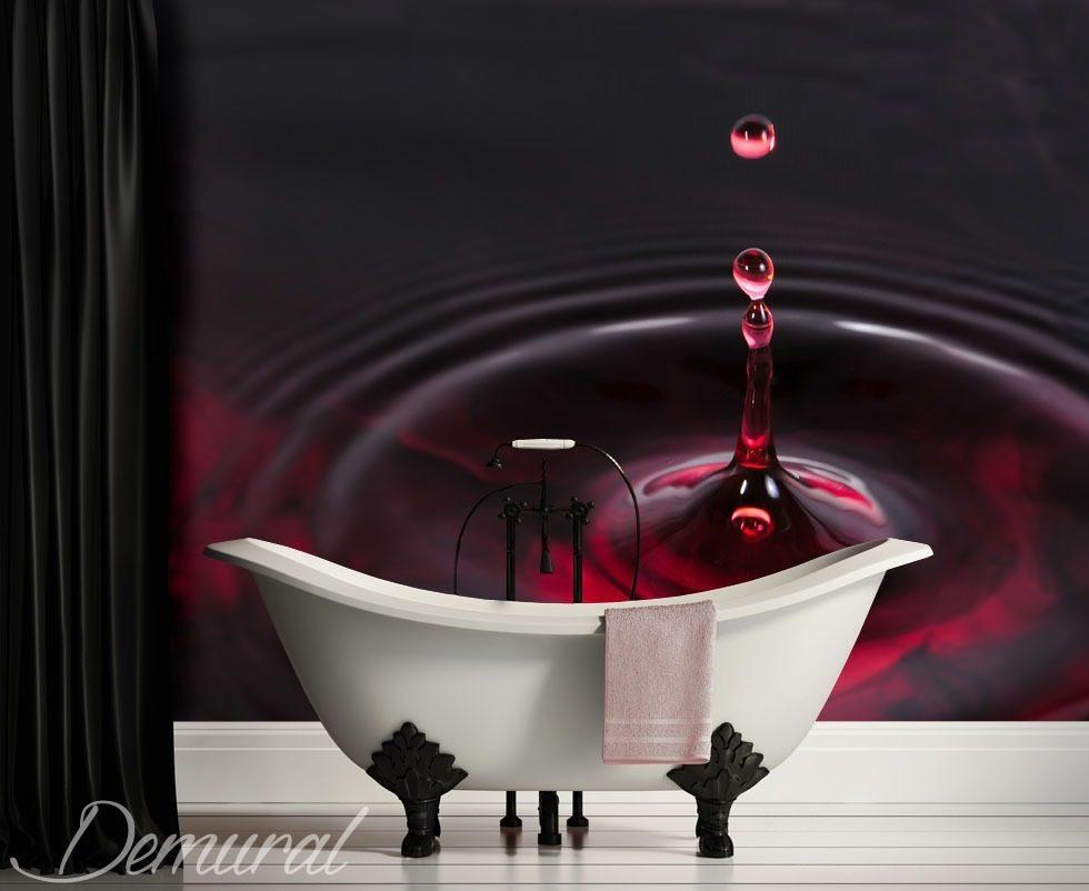 Falling water drop bathroom wallpaper mural photo for Bathroom mural wallpaper