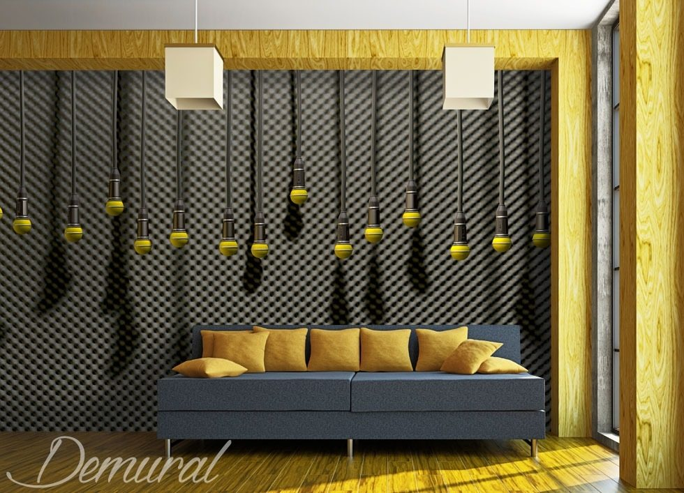 hanging microphones teenagers room wallpaper mural photo wallpapers demural